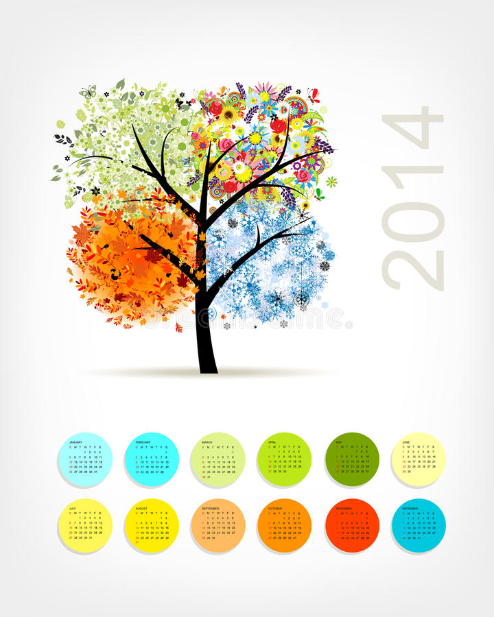 Calendar 2014 With Four Season Tree For Your Stock Images