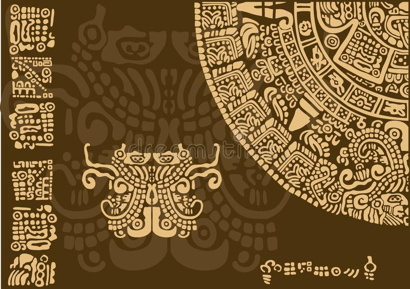 Calendar fragment of ancient civilizations. Images of characters of ancient American Indians.The Aztecs, Mayans, Incas. Mayan calendar. The Mayan alphabet. The vector illustration
