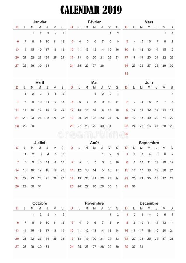 2019 calendar frnch language royalty free stock photos