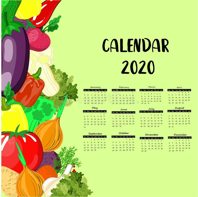 Calendar 2020. Fresh vegetables. Vegetarianism. weekly schedule for children royalty free illustration