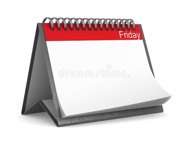 Calendar for friday on white background. Isolated 3D illustration vector illustration