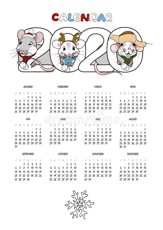 2020 calendar with funny rats stock photography
