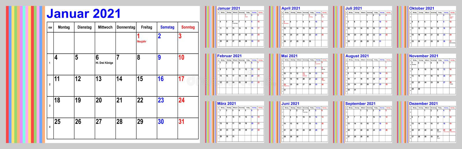 Calendar 2021 For GER With Colorful Stripes In The Left ...