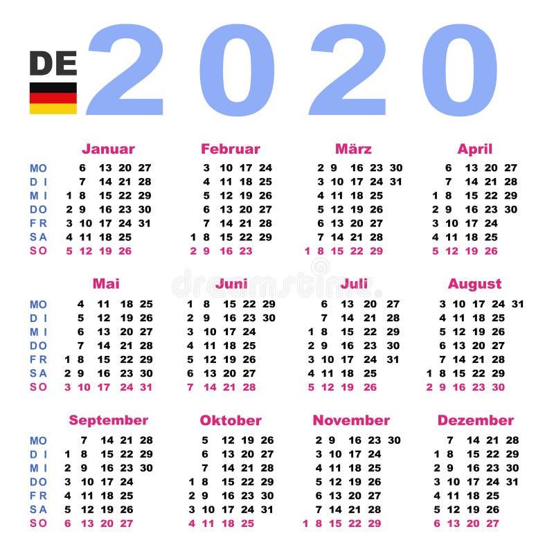 calendar 2020  german  monday stock vector