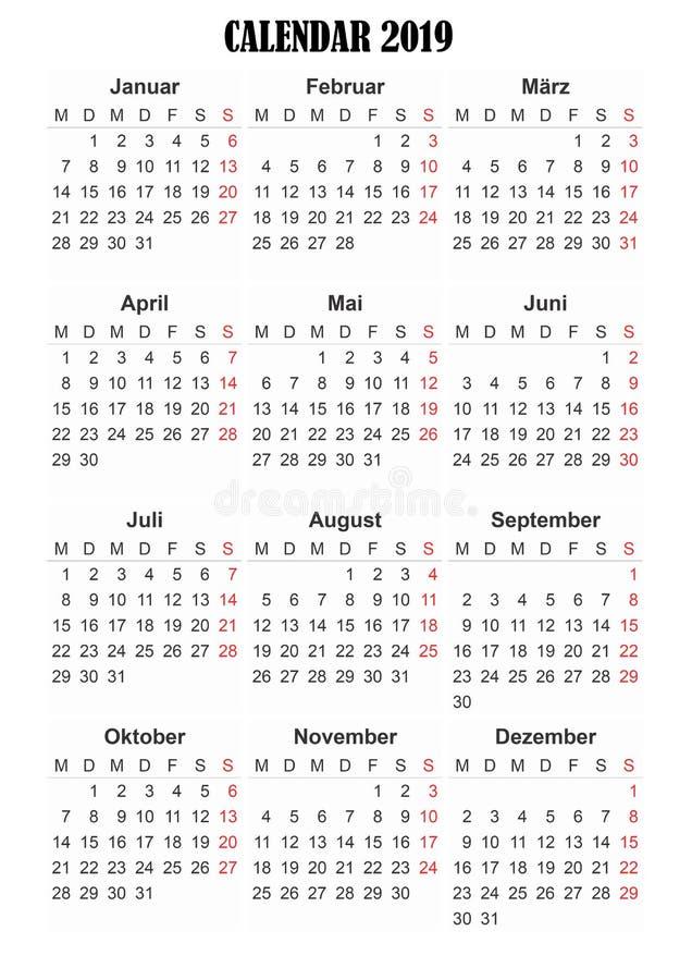 2019 calendar German language royalty free stock image
