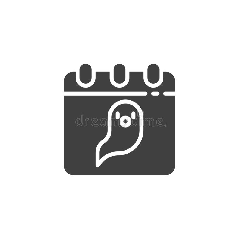 Calendar with ghost vector icon. Filled flat sign for mobile concept and web design. Halloween calendar page glyph icon. Symbol, logo illustration. Vector stock illustration