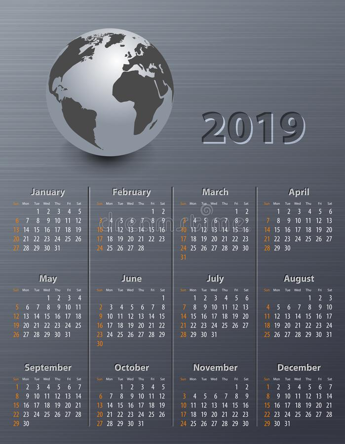 Calendar for 2019 with globe royalty free stock photo