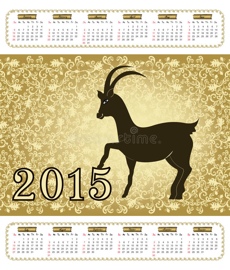 Download Calendar With A Goat In 2015 With Vintage Pattern Stock Vector - Illustration: 43228223
