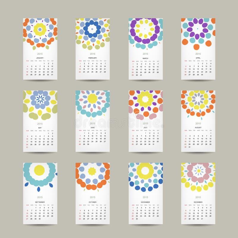 Calendar a grade 2015 para seu projeto, floral ilustração royalty free