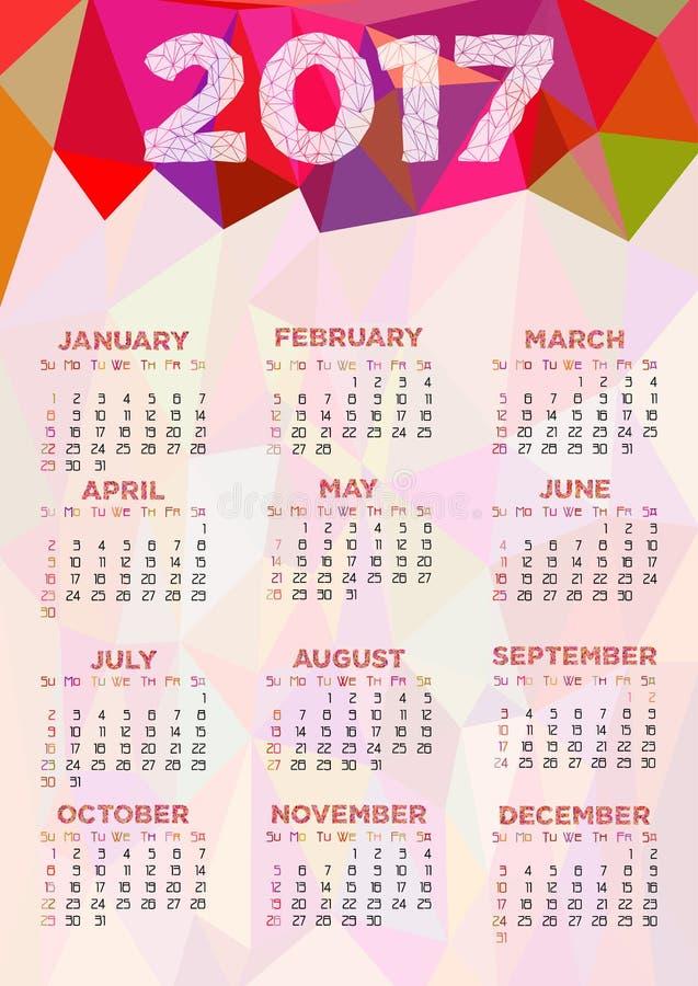 Calendar a grade por 2017 anos com o ornamento poligonal abstrato ilustração do vetor