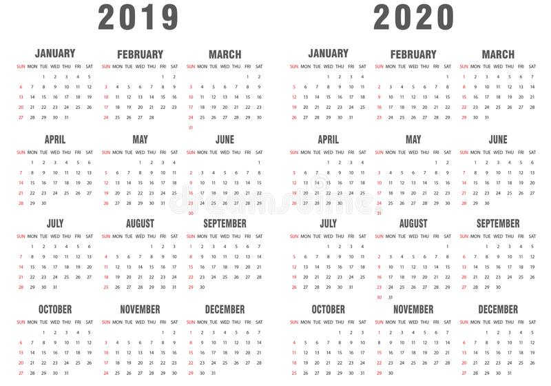 2019-2020 Calendar Gray and White vector illustration
