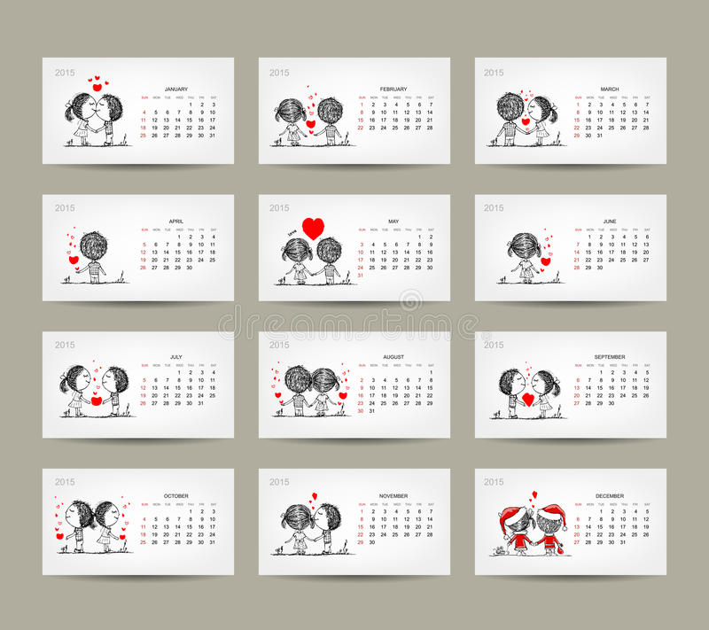 Calendar grid 2015 design. Couple in love together royalty free illustration
