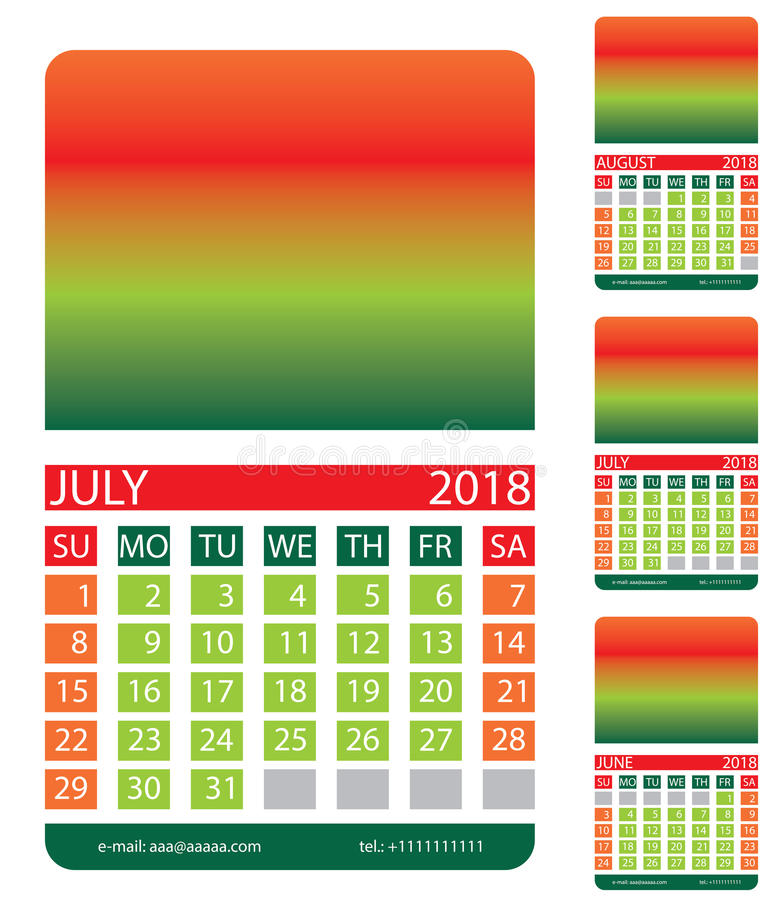 Calendar grid. July. August. June. This page wall calendar. In place of the gradient field can be foredeck your image. Eps 10 vector illustration