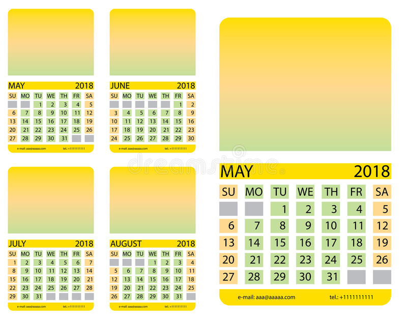 Calendar grid. May. June. July. August. This page wall calendar. In place of the gradient field can be foredeck your image. Eps 10 royalty free illustration