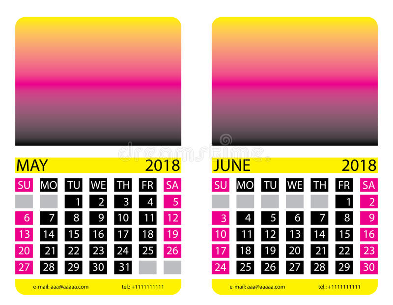 Calendar grid. May. June. This page wall calendar. In place of the gradient field can be foredeck your image. Eps 10 royalty free illustration