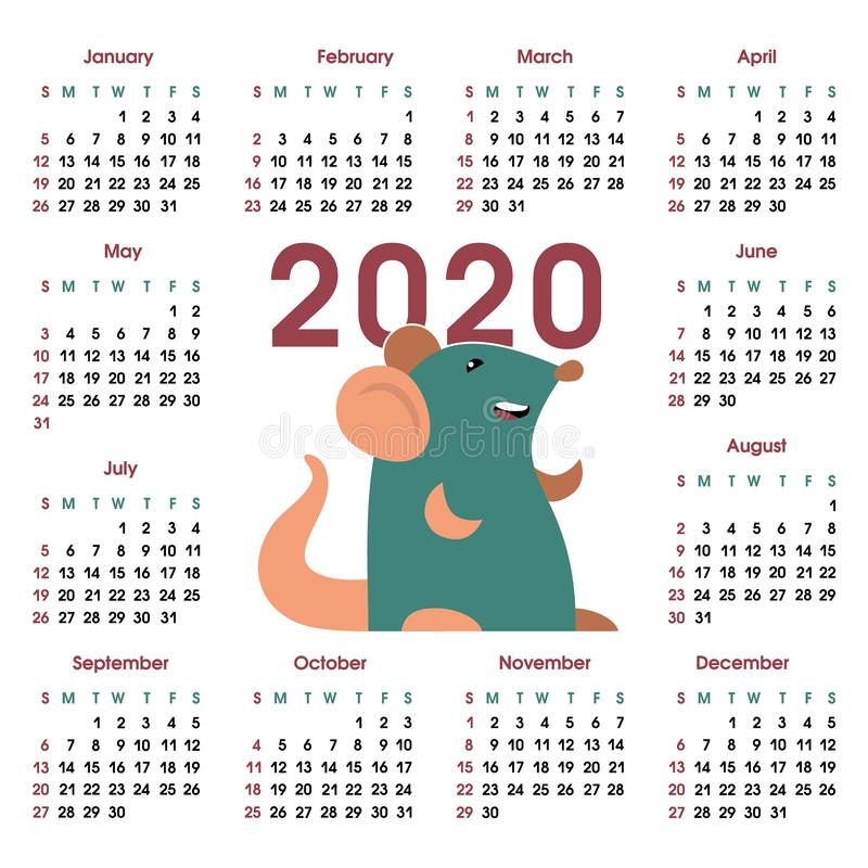 Calendar grid 2020 with rat stock illustration