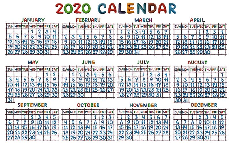 Calendar grid for 2020, molded from plasticine vector illustration