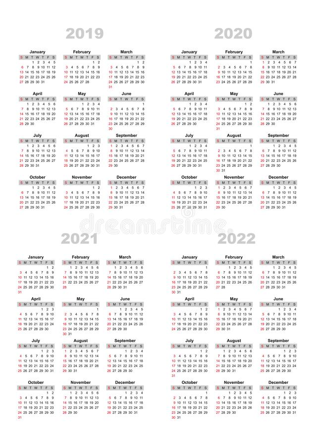 The calendar 2019,2020,2021,2022 royalty free illustration