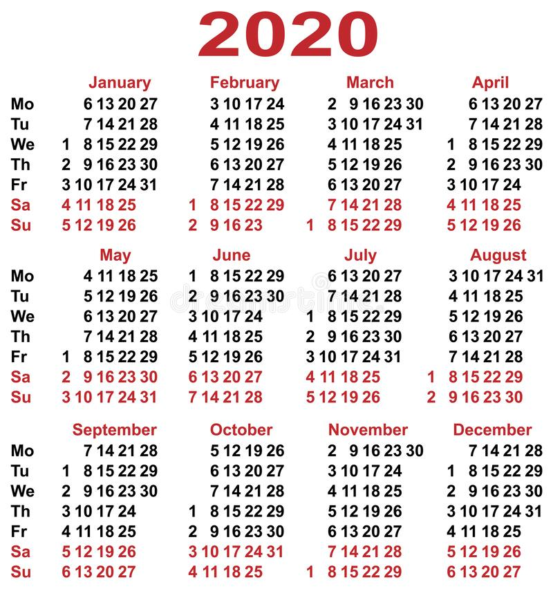 Calendar grid 2020 year. Simple calendar template vertical orientation days of week royalty free illustration