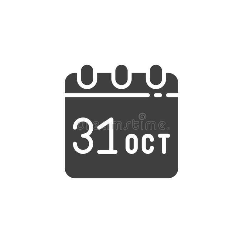 Calendar with Halloween date vector icon. Filled flat sign for mobile concept and web design. October 31 calendar page glyph icon. Symbol, logo illustration vector illustration