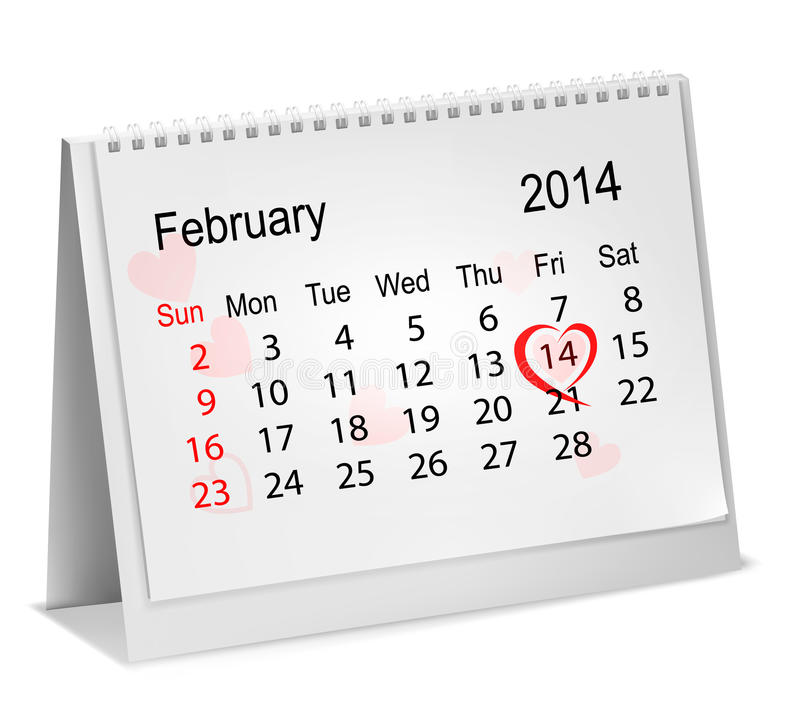 Calendar with hand written red heart. vector illustration