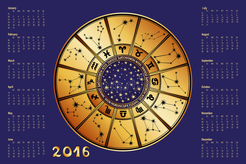 calendar 2016horoscope circlezodiac sign stock vector