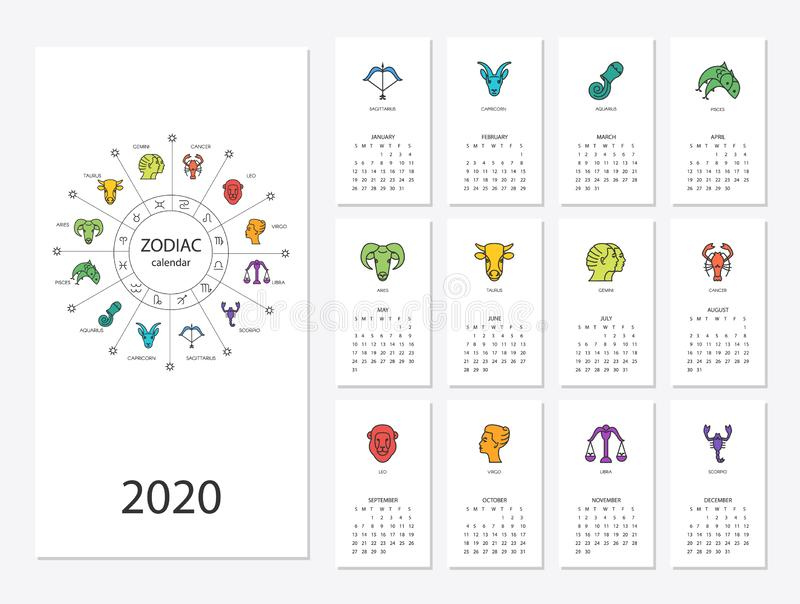 Calendar 2020  Zodiac Signs: Aquarius, Libra, Leo, Taurus, Cancer