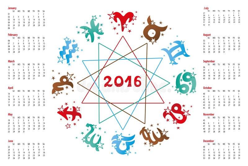 Calendar 2016horoscope Zodiac Sign Stock Vector Illustration Of