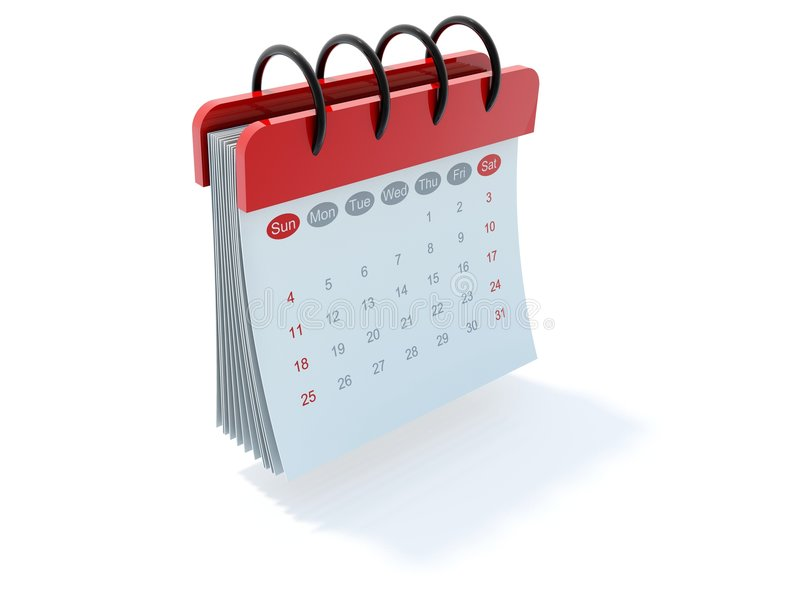 Calendar icon. Red calendar icon isolated on white