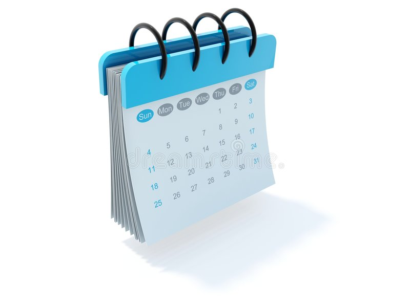 Calendar icon. Blue calendar icon isolated on white