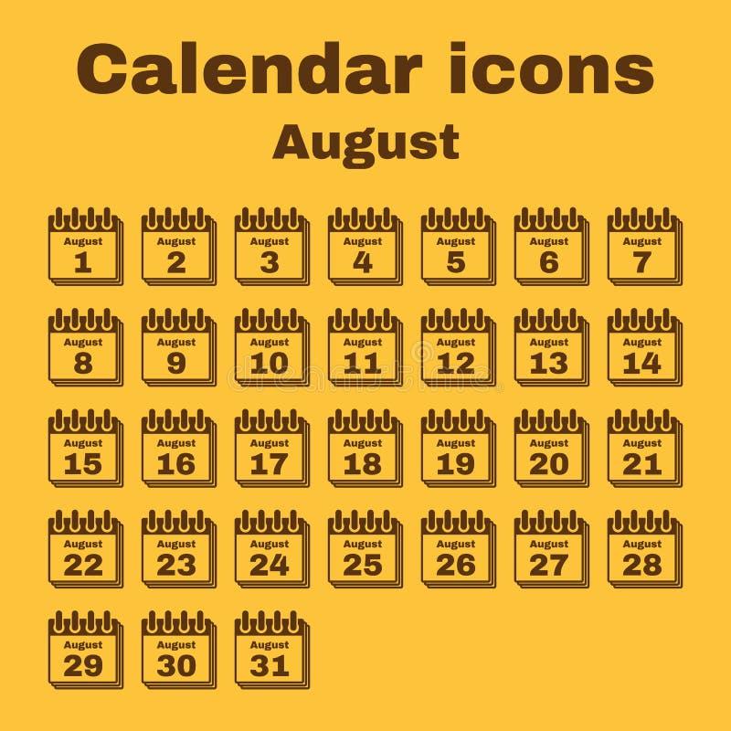 The calendar icon. August symbol. Flat stock illustration