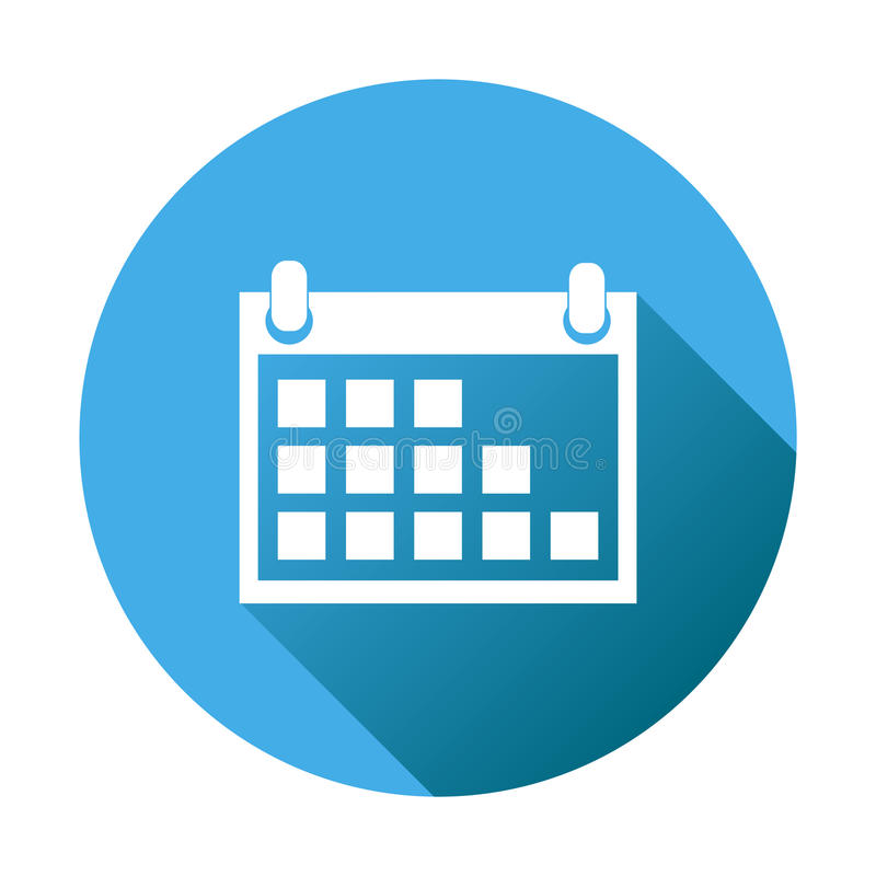 Calendar Icon Blue : Calendar icon on blue round background vector