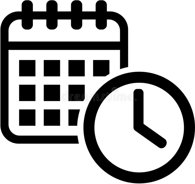 Calendar icon with clock. Meeting. vector illustration