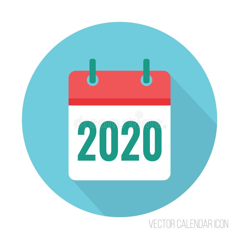 2020 calendar icon flat color. New year vector sign royalty free illustration