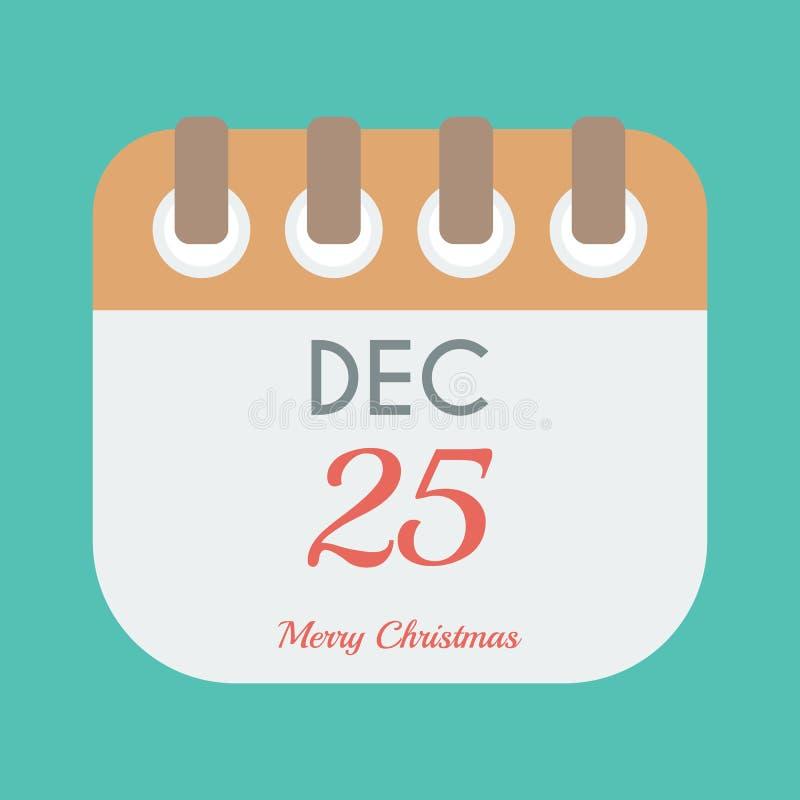Calendar icon flat of december 25 vector illustration