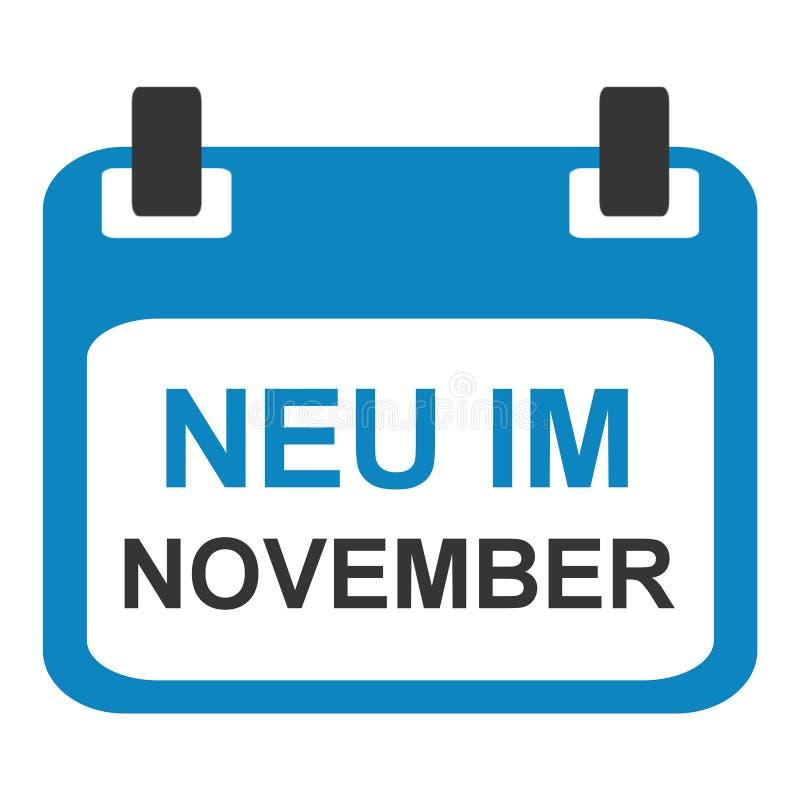 Calendar icon: New in November german royalty free illustration