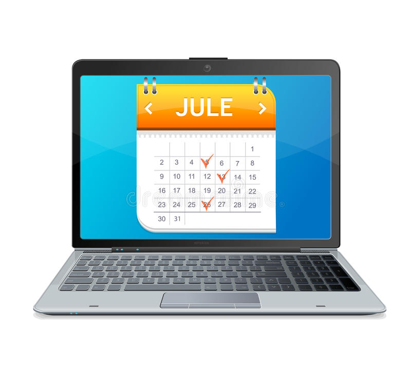 Calendar icon on the screen of laptop monitor. This is file of EPS10 format vector illustration