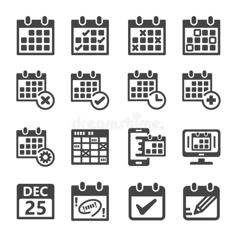 Calendar icon set stock illustration