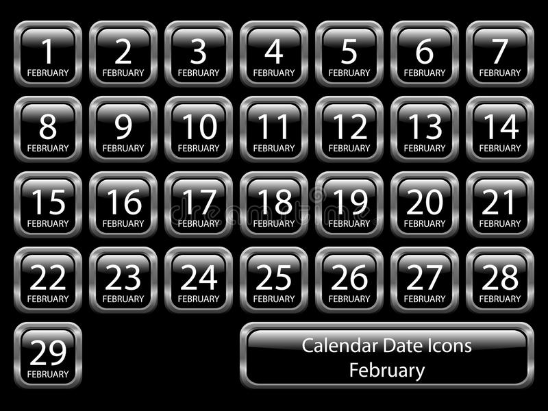 Calendar Icon Set - February royalty free illustration