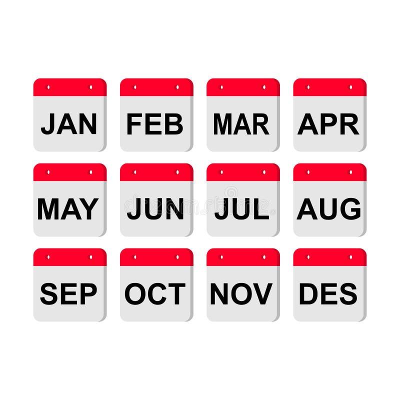 Calendar Icon Set / Months /. Modern vector calendar icon set with months and shadow. Calendar background, flat for infographic. Monthly calendar vector vector illustration