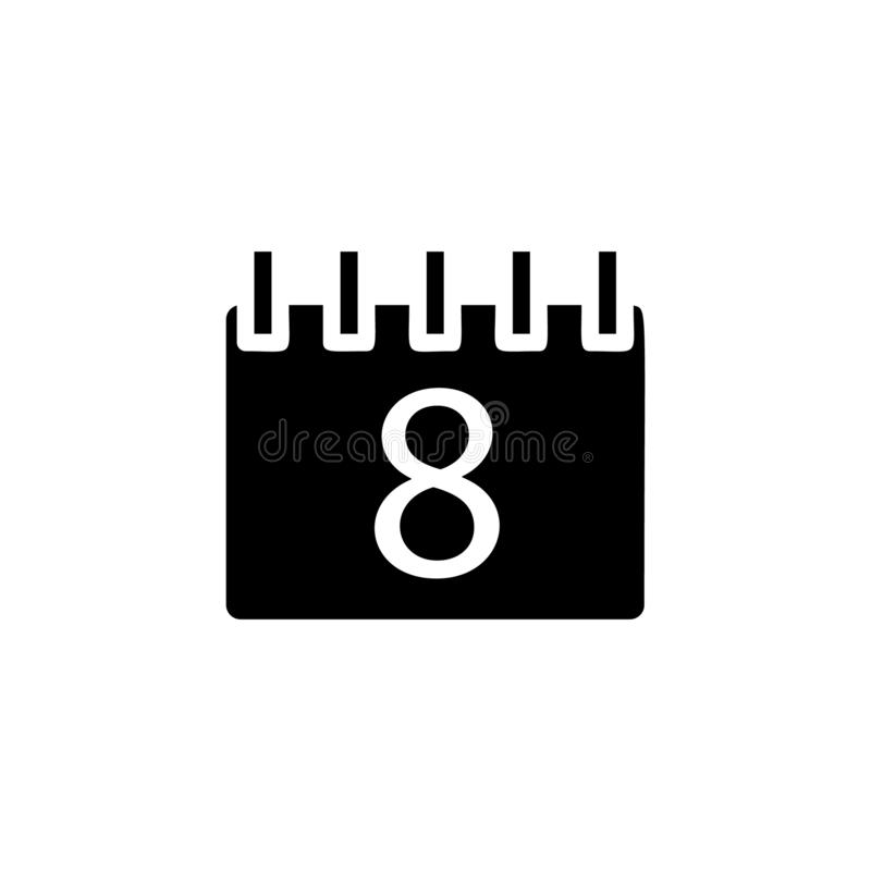 the calendar icon. Simple glyph, flat vector of Web icons for UI and UX, website or mobile application royalty free illustration