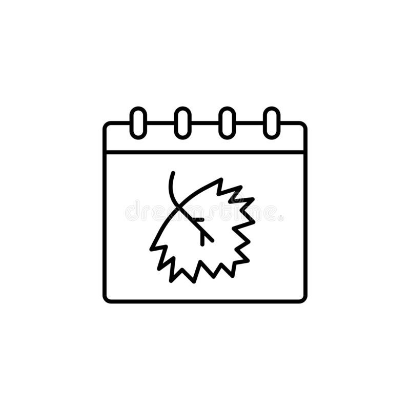Calendar icon. Simple thin line, outline  of autumn icons for ui and ux, website or mobile application royalty free illustration