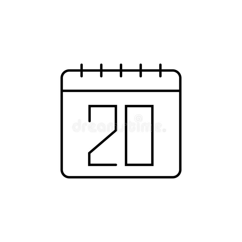 Calendar, 20 icon. Simple thin line, outline  of calendar icons for ui and ux, website or mobile application vector illustration