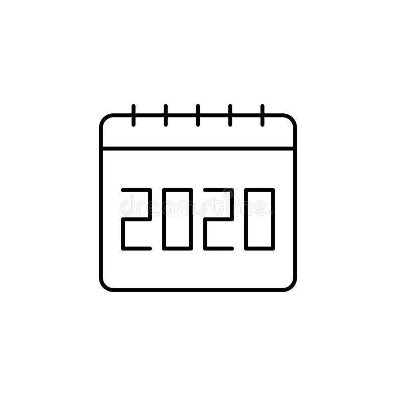Calendar, 2020 icon. Simple thin line, outline  of calendar icons for ui and ux, website or mobile application stock illustration