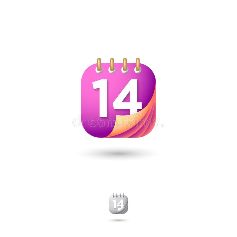 Calendar icon, UI. Web button. Organizer or diary emblem. Dates and numbers icons. Rounded square symbol with shadow. Calendar icon, UI. Organizer or diary royalty free illustration