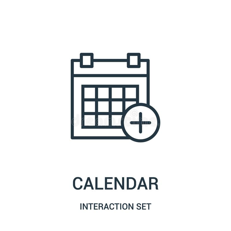 Calendar icon vector from interaction set collection. Thin line calendar outline icon vector illustration. Linear symbol for use on web and mobile apps, logo stock illustration