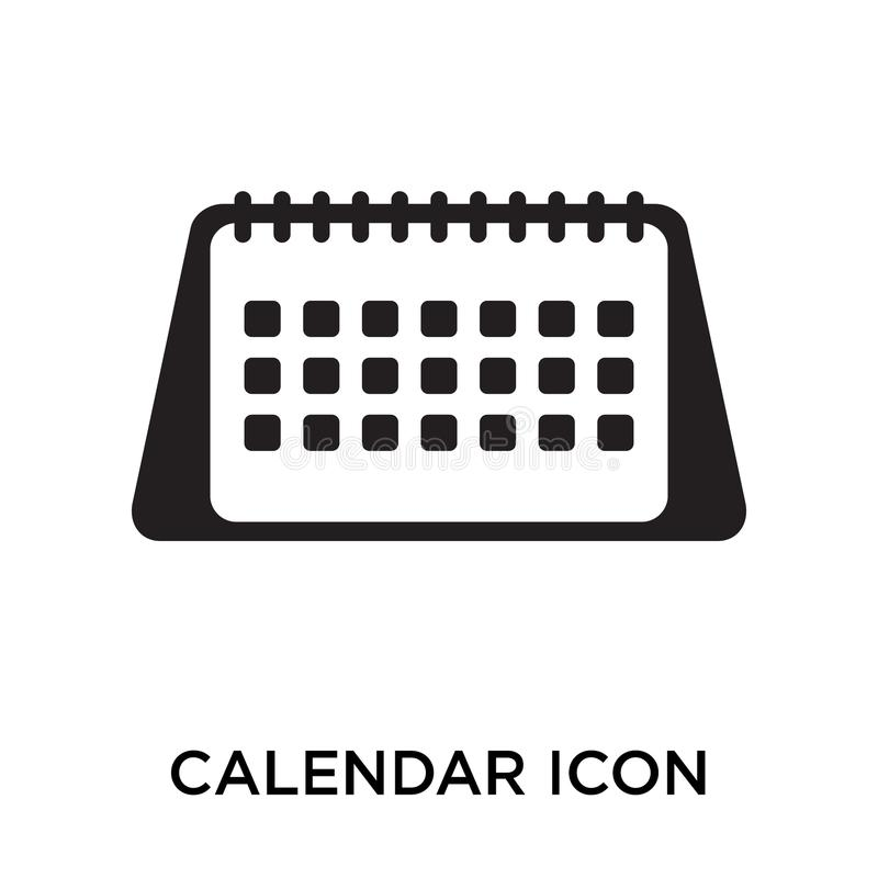 Calendar icon vector sign and symbol isolated on white background, Calendar logo concept stock illustration