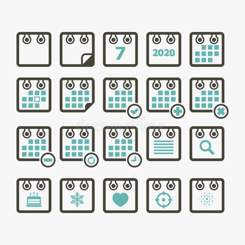 Calendar icon set 2020 stock illustration