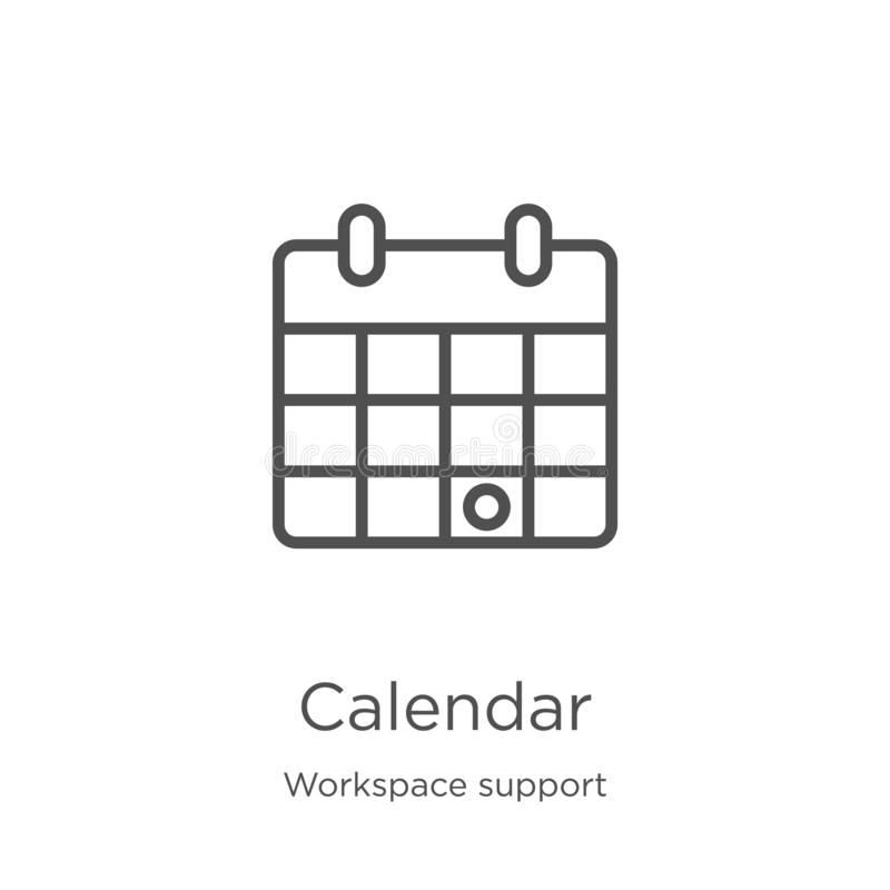 calendar icon vector from workspace support collection. Thin line calendar outline icon vector illustration. Outline, thin line royalty free illustration