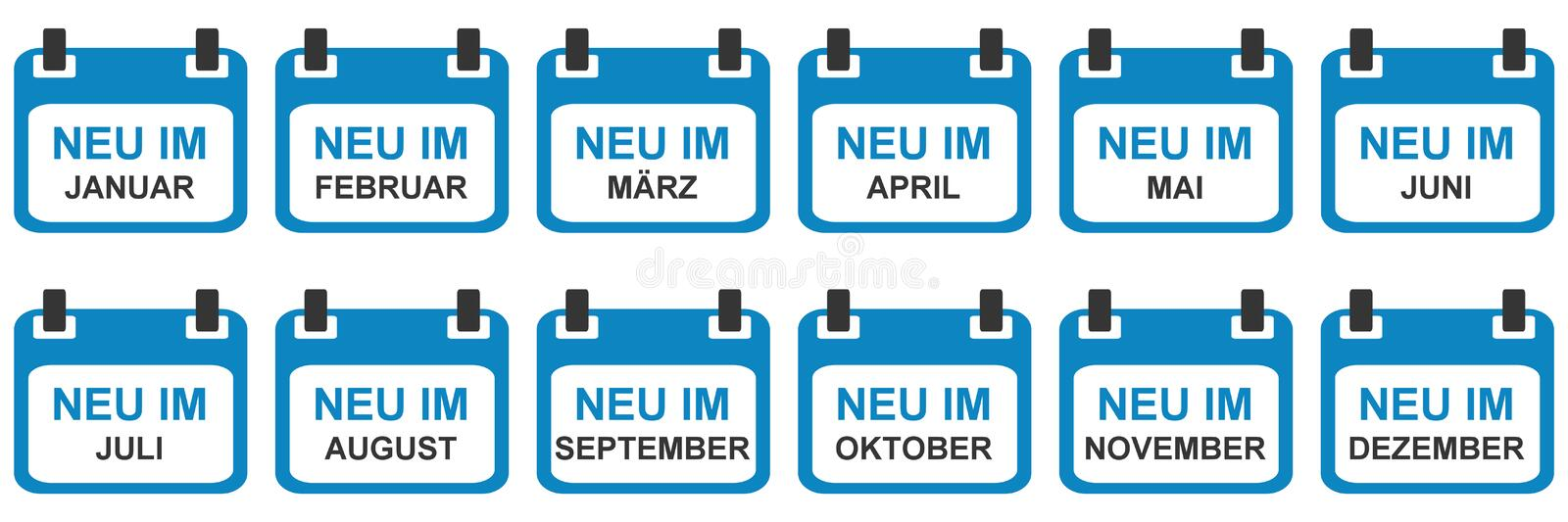 Calendar Icons: New in January - December in german language vector illustration